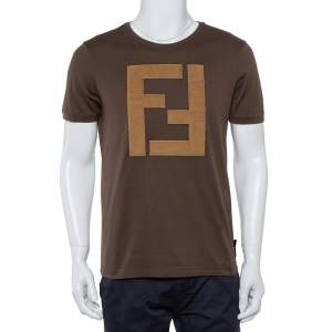 Fendi Brown Cotton Logo Applique Crewneck T-Shirt L