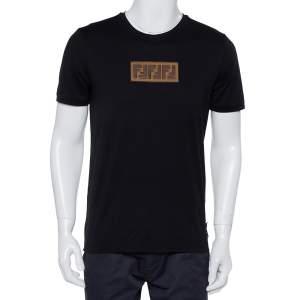 Fendi Black Cotton Logo Embroidered Crewneck T-Shirt L