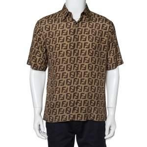 Fendi Brown Silk All Over Logo Printed Short Sleeve Shirt M