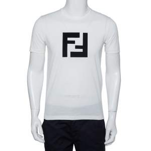 Fendi White Logo Patched Cotton Crewneck T-Shirt S