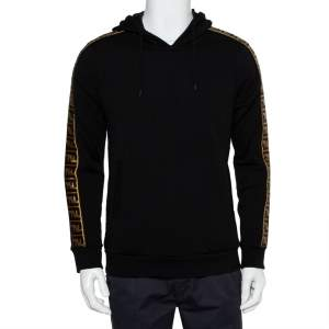 Fendi Black Wool & Silk Logo Band Detail Hoodie S