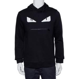 Fendi Black Bag Bugs Appliqué Cotton Hooded Sweatshirt S