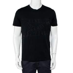 Fendi Black Cotton Logo Detail Crewneck T-Shirt XL