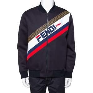 Fendi Midnight Blue Neoprene Logo Printed Bomber Jacket L