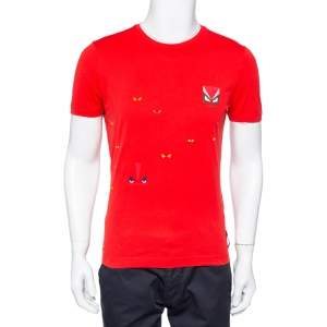 Fendi Red Monster Eye Printed Cotton Crewneck T-Shirt M
