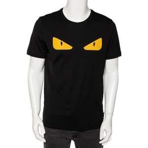 Fendi Black Cotton Bag Bug Leather Inlay Detailed Short Sleeve T-Shirt XL