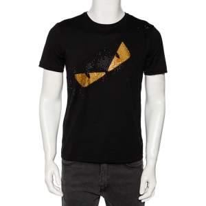 Fendi Black Cotton Bag Bug Embellished Short Sleeve T-Shirt XS