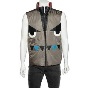 Fendi Grey & Red Synthetic Monster Face Detail Reversible Quilted Vest L