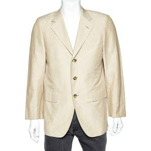 Fendi Beige Cotton & Ramie Button Front Blazer L