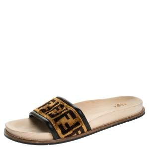 Fendi Zucca Velvet Flat Slides Sandals Size 45