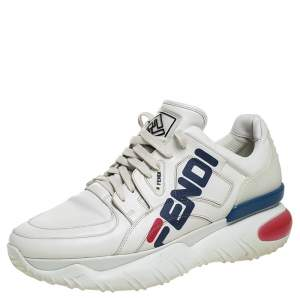 Fendi White Leather And Rubber Fendi-Fila Mania Logo Low Top Sneakers Size 45