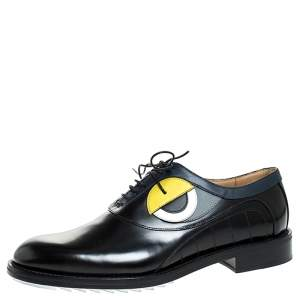 Fendi Black Leather Slick Eyes Oxfords Size 43