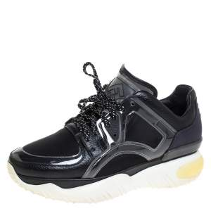 Fendi Black Leather, Mesh And Rubber Runway Chunky Sneakers Size 40