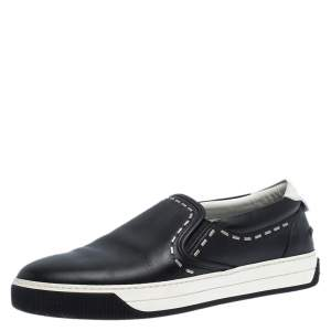 Fendi Black Leather Metal Stitch Slip On Sneakers Size 41