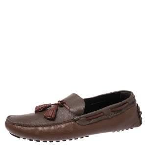 Fendi Brown/Maroon Leather Tassel Loafers Size 45