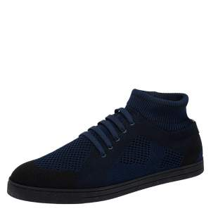 Fendi Navy Blue/Black Knitted Fabric Sock Sneakers Size 44