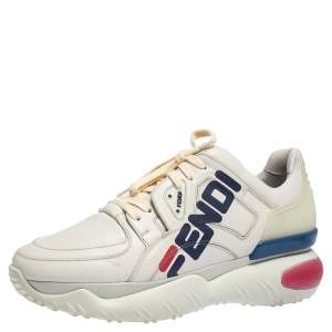 Fendi White Leather And Rubber Fendi-Fila Mania Logo Low Top Sneakers Size 42