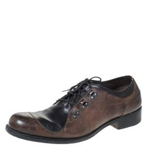 Fendi Black/Brown Leather Oxfords Size 43