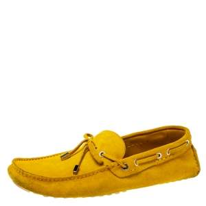 Fendi Yellow Suede Driving Loafers Size 44