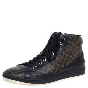 Fendi Brown/Black Zucca Coated Canvas And Leather Wimbledon High Top Sneakers Size 43