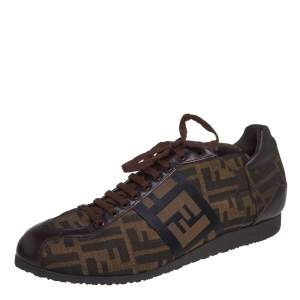 Fendi Brown Zucca Canvas And Leather Low Top Sneakers Size 42