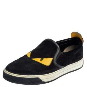 Fendi Black/Yellow Suede And Leather Monster Eye Slip On Sneakers Size 42