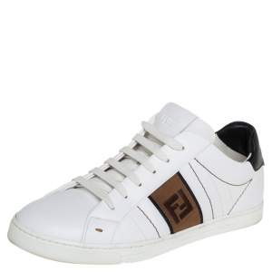 Fendi White Leather FF Motif Low Top Sneakers Size 41
