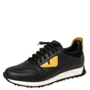 Fendi Black/Yellow Leather Monster Eyes Studded Low Top Sneakers Size 43