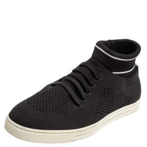 Fendi Black/White Knit Fabric Sock Low Top Sneakers Size 41