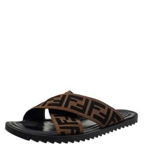 Fendi Brown Zucca Canvas Crisscross Slide Sandals Size 41