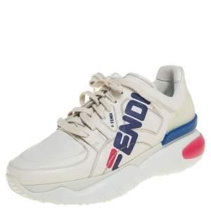 Fendi White Leather and Rubber Fendi-Fila Mania Logo Low Top Sneakers Size 40