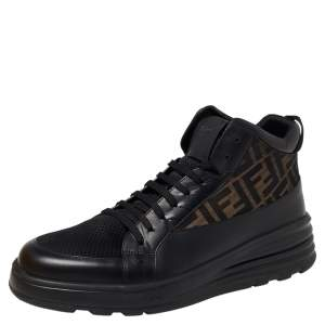 Fendi Black/Brown Zucca Canvas And Leather High Top Sneakers Size 43