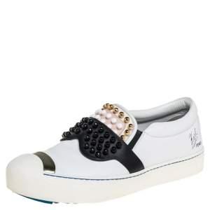Fendi White/Black Leather Studded Karlito Slip On Sneakers Size 40
