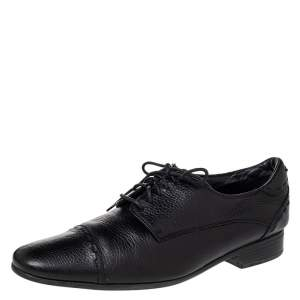 Fendi Black Leather Cap Toe Lace Up Oxford Size 42.5