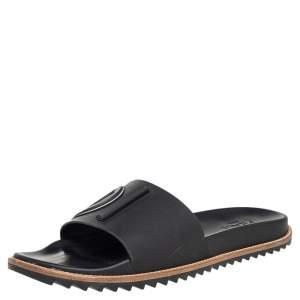 Fendi Black Rubber Flat Slides Size 46