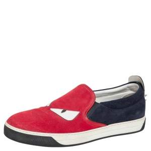 Fendi Multicolor Suede And Leather Monster Eye Spike Slip On Sneakers Size 45