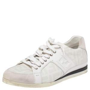 Fendi White/Grey Zucca Coated Canvas and Suede FF Sneakers Size 42