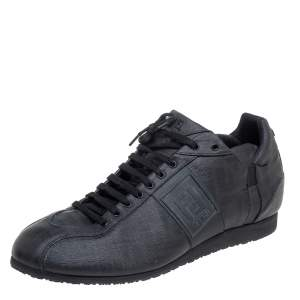Fendi Black Coated Canvas F Logo Low Top Sneakers Size 45
