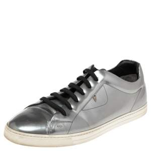 Fendi Silver Patent Leather Low Top Sneakers Size 45