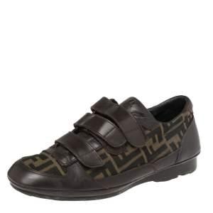 Fendi Tobacco Zucca Canvas And Leather Velcro Strap Sneakers Size 41