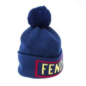 Fendi Blue Logo Intarsia Knit Wool Beanie ( One Size )
