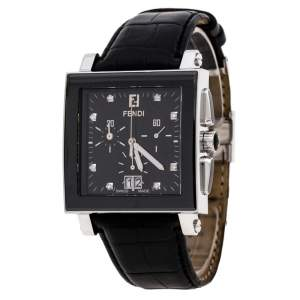 Fendi Black Stainless Steel Ceramic Quadro 6500G Men's Wristwatch 39 mm