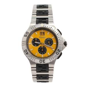 Fendi Yellow Stainless Steel 4800G Chronograph Men's Wristwatch 43 mm