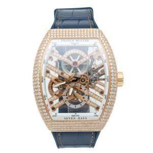 Franck Muller Skeleton Vanguard Rose Gold Full Diamond Limited Edition Watch 45 MM