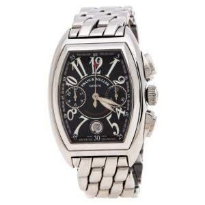 Franck Muller Black Stainless Steel Conquistador Men's Wristwatch 34 mm