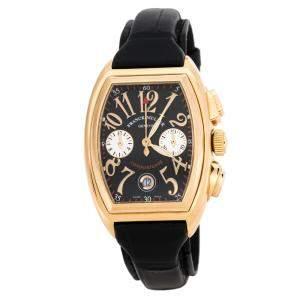 Franck Muller Black 18K Rose Gold Conquistador 8001 CC Men's Wristwatch 35 mm