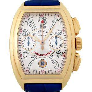 Franck Muller White 18K Yellow Gold Conquistador Chronograph 8005CC Men's Wristwatch 34 MM