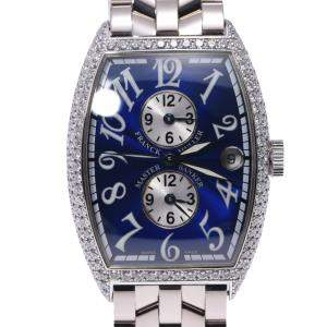 Franck Muller Blue Diamonds 18K White Gold Tonneau Curvex 6850MBD Automatic Men's Wristwatch 34 MM