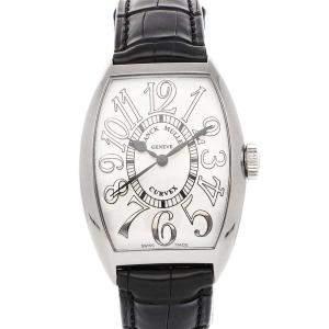 Franck Muller Silver 18K White Gold Cintree Curvex 5850 SC RELIEF Men's Wristwatch 45 x 32 MM
