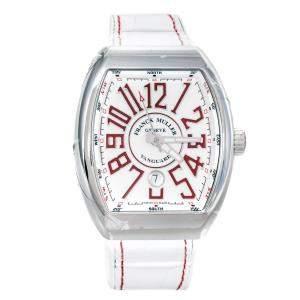 ساعة يد رجالية فرانك مولر فانغارد  V 45 SC DT AC RG ستانلس ستيل بيضاء 44 مم